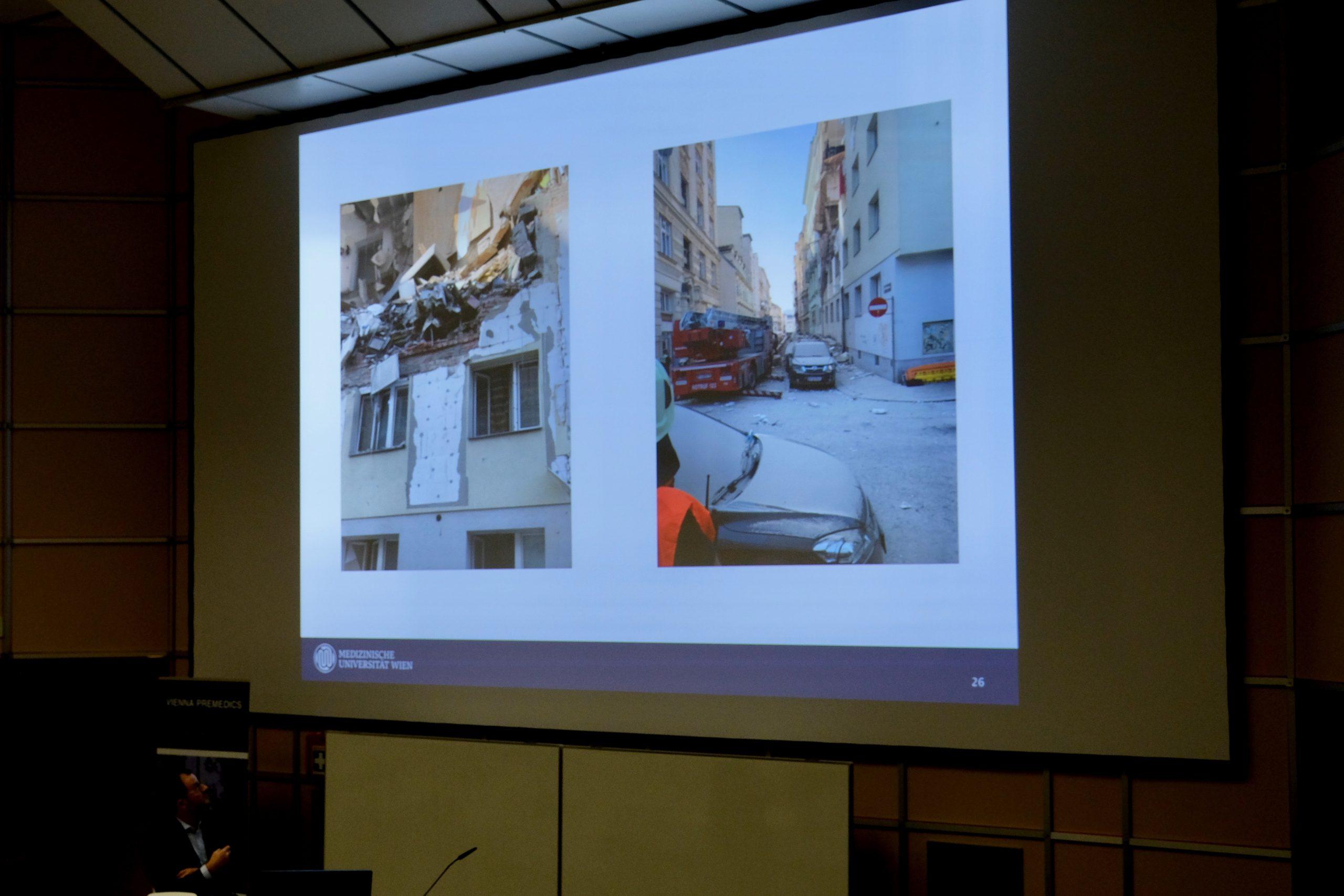 Lecture-Slide mit Beispielfoto einer Gasexplosion